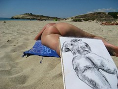 Sketching at Son Bou<br/><br/>A man a woman some sun sand and sea ... and you get pictures!